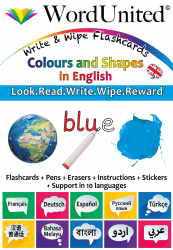 Colours & Shapes in English - Write & Wipe (Flashcard kit)