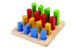 Plan Toys Geometric Peg Shape & Height Sorting Board