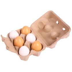 Bigjigs Wooden Eggs in Carton (Play Food - 6 Eggs & Egg Box)