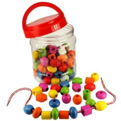 Bigjigs Jar of Lacing Beads and Laces for Threading