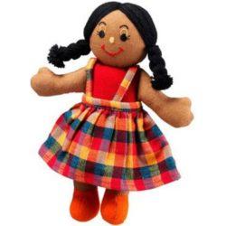 Lanka Kade Fair Trade Girl - Brown Skin, Black Hair (Rag Doll)