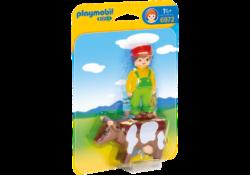 Playmobil 1.2.3 6972 - Farmer with Cow