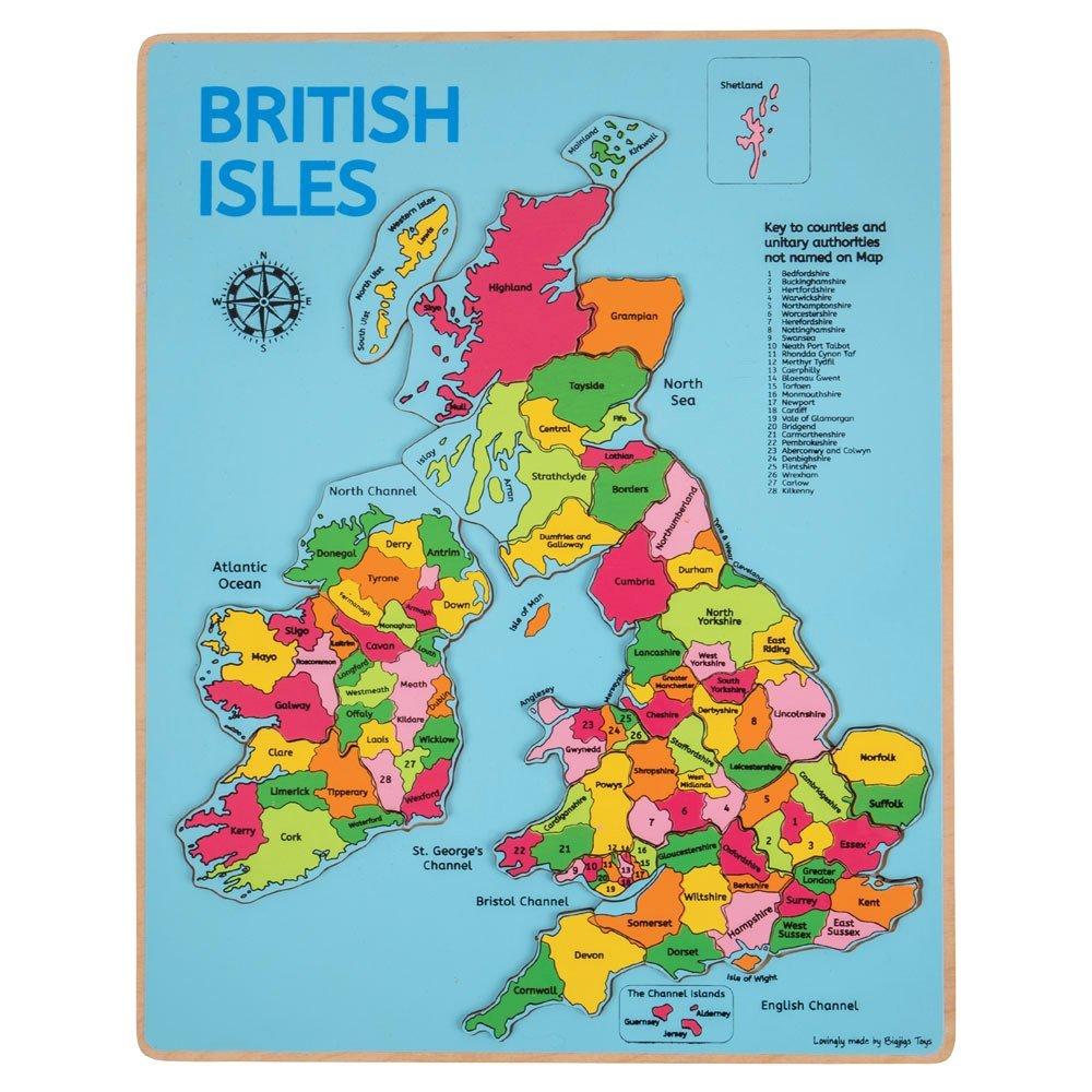 Bigjigs British Isles Map Inset Jigsaw Puzzle (Blue Background ...