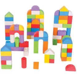 Bigjigs Wooden Click Blocks - Coloured (100 Bricks)