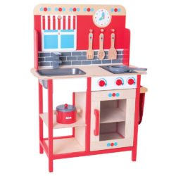 Bigjigs Toys Wooden Play Kitchen with Sink, Cooker, Saucepans, Utensils and Accessories