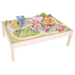 Bigjigs Rail Wooden Fire and Rescue Emergency Services Train Set and Table (67 Pieces)