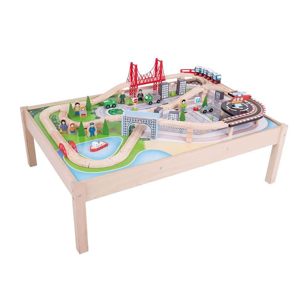 Bigjigs Rail Wooden City Train Set And Table 59 Pieces
