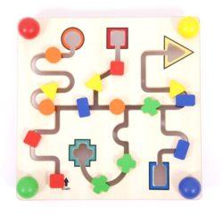 Wooden Shape Labyrinth Maze Board