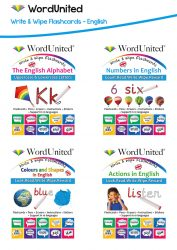 Write & Wipe English Pack - Alphabet, Numbers, Colours & Shapes and Actions (4 Flashcard Kits)