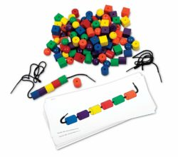 Learning Resources Sequencing Beads & Pattern Cards - Lacing & Threading Set (108 Beads + 20 Cards + 2 Laces)