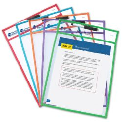 Learning Resources Wipe Clean Pockets (5 Pockets + 5 Markers with Erasers)