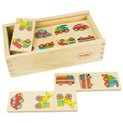 Bigjigs Toys Transport Wooden Dominoes (28 Pieces in Storage Box with Lid)