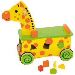 Bigjigs Toys Wooden Giraffe Ride On and Shape Sorter (Ride On + 6 Blocks)