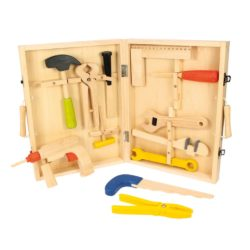 Bigjigs Toys Carpenter's Tool Box + Tools: Hammer, Pliers, Power Drill, Files, Spanners & Tool Box (13 Pieces)
