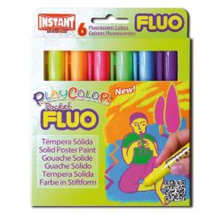 Playcolor Fluo Pocket Solid Poster Paint 5 gm Sticks (Pack of 6 Flu Colours)