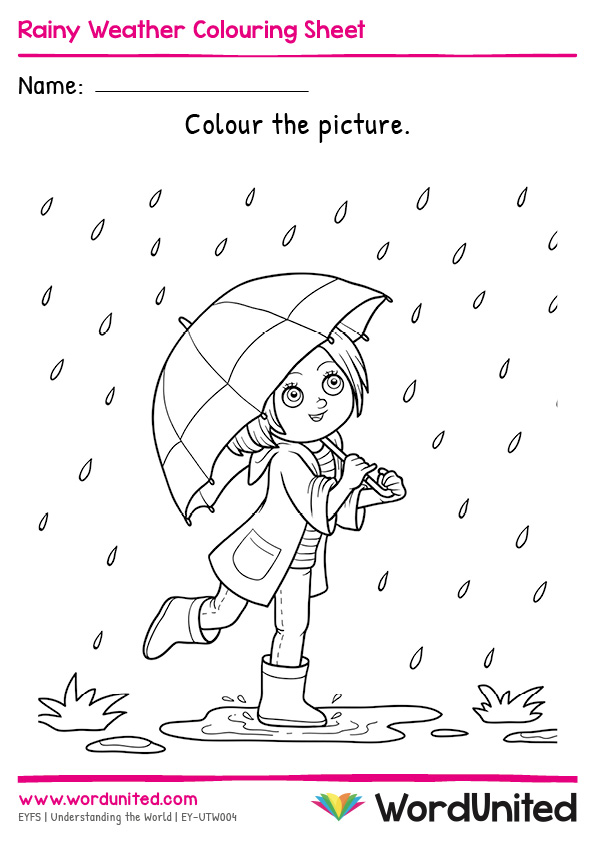 Rainy Weather Colouring Sheet - WordUnited