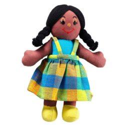 Lanka Kade Fair Trade Girl - Black Skin, Black Hair (Rag Doll)