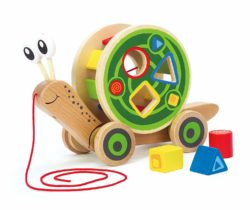 Hape Walk-A-Long Snail with Shapes Sorting (Pull Along Eco Toy)